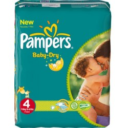 Mega pack 100 Couches Pampers Baby Dry taille 4 sur Tooly