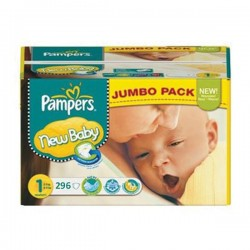 Mega pack 198 Couches Pampers Premium Protection taille 1 sur Tooly