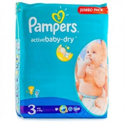 Mega pack 124 Couches Pampers Active Baby Dry taille 3 sur Tooly