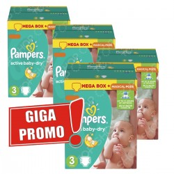 Maxi giga pack 372 Couches Pampers Active Baby Dry taille 3 sur Tooly