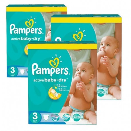Pack jumeaux 744 Couches Pampers Active Baby Dry taille 3 sur Tooly