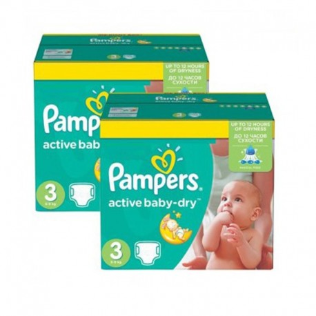 Pack jumeaux 992 Couches Pampers Active Baby Dry taille 3 sur Tooly