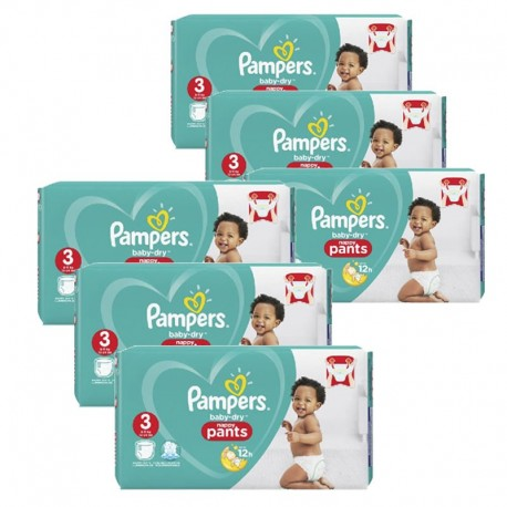 Mega pack 114 Couches Pampers Baby Dry Pants taille 3 sur Tooly