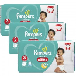 Mega pack 152 Couches Pampers Baby Dry Pants taille 3 sur Tooly