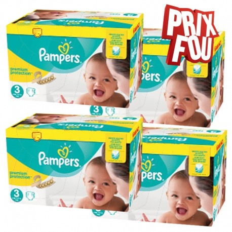 Mega pack 116 Couches Pampers Premium Protection taille 3 sur Tooly