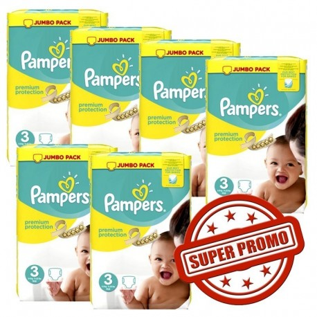Mega pack 174 Couches Pampers Premium Protection taille 3 sur Tooly