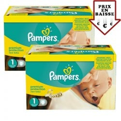 Giga pack 224 Couches Pampers Premium Protection taille 1 sur Tooly