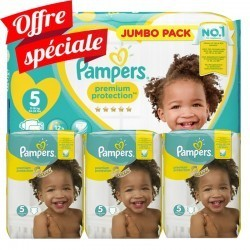 Mega pack 136 Couches Pampers Premium Protection taille 5 sur Tooly