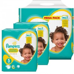 Maxi mega pack 408 Couches Pampers Premium Protection taille 5 sur Tooly