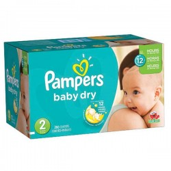 Maxi giga pack 340 Couches Pampers New Baby Dry taille 2 sur Tooly