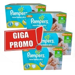 Pack jumeaux 612 Couches Pampers New Baby Dry taille 2 sur Tooly