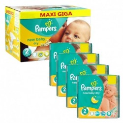 Pack jumeaux 748 Couches Pampers New Baby Dry taille 2 sur Tooly