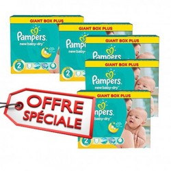 Pack jumeaux 884 Couches Pampers New Baby Dry taille 2 sur Tooly