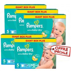 Maxi mega pack 462 Couches Pampers Active Baby Dry taille 5 sur Tooly