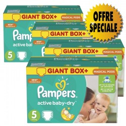 Pack jumeaux 546 Couches Pampers Active Baby Dry taille 5 sur Tooly