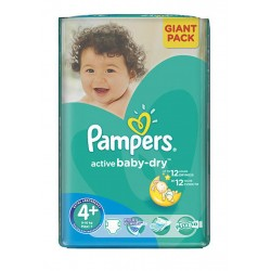 Pack 58 Couches Pampers Active Baby Dry taille 4+ sur Tooly