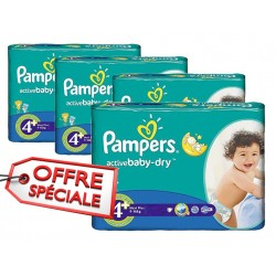 Mega pack 116 Couches Pampers Active Baby Dry taille 4+ sur Tooly