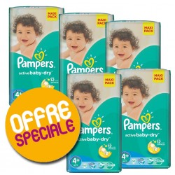 Giga pack 232 Couches Pampers Active Baby Dry taille 4+ sur Tooly