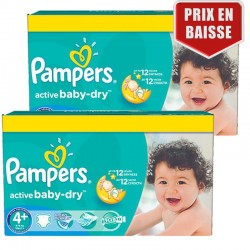 Giga pack 290 Couches Pampers Active Baby Dry taille 4+ sur Tooly