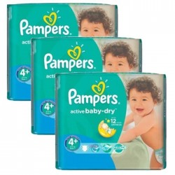 Maxi giga pack 348 Couches Pampers Active Baby Dry taille 4+ sur Tooly