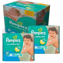 Maxi mega pack 406 Couches Pampers Active Baby Dry taille 4+ sur Tooly