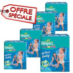 Maxi mega pack 432 Couches Pampers Active Baby Dry taille 6 sur Tooly