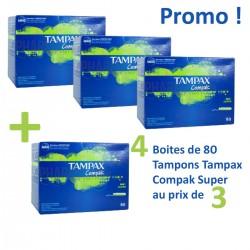 Pack 320 Tampons de Tampax Compak - 4 Packs de 80 de taille super avec applicateur sur Tooly