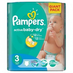 Pack 68 Couches Pampers Active Baby Dry taille 3 sur Tooly