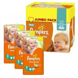 Mega pack 156 Couches Pampers Sleep & Play taille 3 sur Tooly