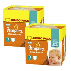 Maxi giga pack 390 Couches Pampers Sleep & Play taille 3 sur Tooly