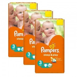 Pack jumeaux 702 Couches Pampers Sleep & Play taille 3 sur Tooly